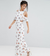 Fashion Union Petite Floral Printed Cold Shoulder Ruffle Jumpsuit