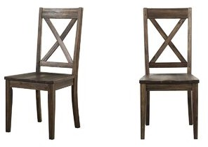 Gracie Oaks Ridgley Solid Wood Cross Back Side Chair (Set of 2 Color: Weathered Russet