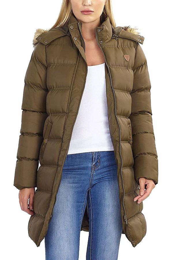 Thumbnail for your product : Brave Soul Ladies Jacket HOPLONGKHI Khaki UK 10