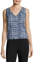 H Halston Printed Sleeveless V-Neck Top