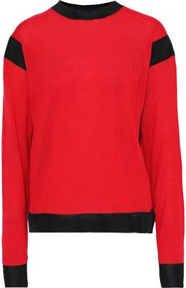 Sonia Rykiel Mesh-trimmed Wool-blend Sweater