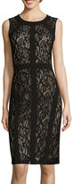 Ronni Nicole Sleeveless Seam-Detail Lace Sheath Dress