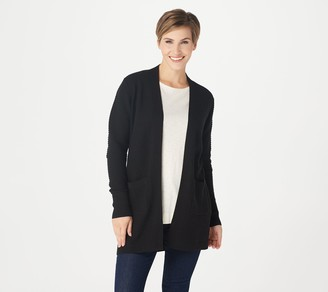 Isaac Mizrahi Live! Open Front Textured Stitch Cardigan