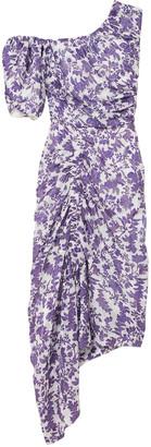 Preen by Thornton Bregazzi Asymmetric Floral-print Fil Coupe Woven Midi Dress