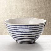 Crate & Barrel Lina Blue Stripe Serve Bowl