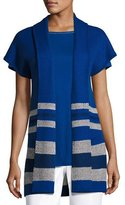 St. John Textured Inlay Knit Shawl-Collar Jacket, Cobalt