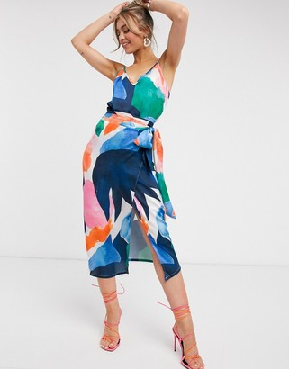 NEVER FULLY DRESSED contrast geo print midi skirt with belt