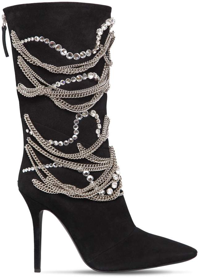 Giuseppe Zanotti Design 105mm Chains & Crystals Suede Boots