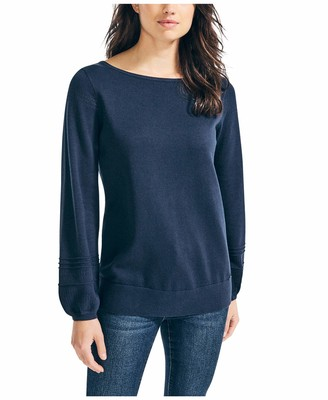 Nautica Women's Classic Soft Cotton Boat Neck Sweater
