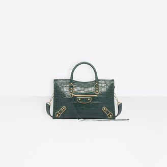 Balenciaga Small size calfskin crocodile effect hand carry and shoulder bag with metallic edge hardware