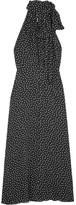 Saint Laurent Glittered Polka-dot Crepe Midi Dress - Black