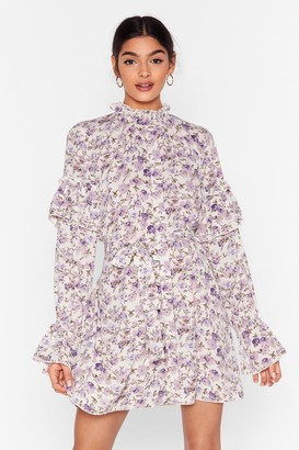 Nasty Gal Womens Plant One on Me Floral Mini Dress - Cream