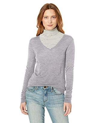 Lark & Ro Women's Merino Wool Long Sleeve V Neck Sweater