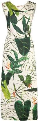 OSKLEN leaf printed midi dress