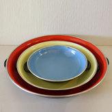 Picked Vintage Enamel Pan Set Of 3