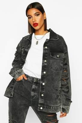 boohoo Ripped Oversized Denim Jacket