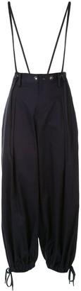 Yohji Yamamoto Brace Detail Wide Leg Trousers