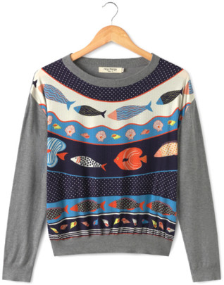 Nice Things Round Neck Top With Fish Print - S