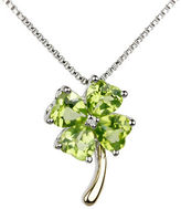 Fine Jewellery Diamond, Peridot and 14k Goldplated Sterling Silver Four Leaf Clover Pendant Necklace