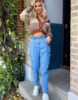 In The Style x Billie Faiers cargo pocket jeans in stone wash blue