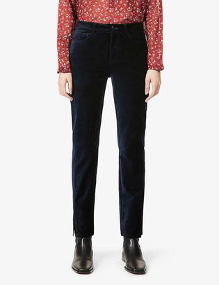 Paige Cindy split-cuff high-rise cotton-blend velvet jeans