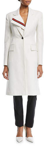 Calvin Klein Notched-Collar Single-Breasted Coat with Stripe Placket