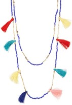 Cara Accessories Double Layer Seed Bead & Tassel Necklace