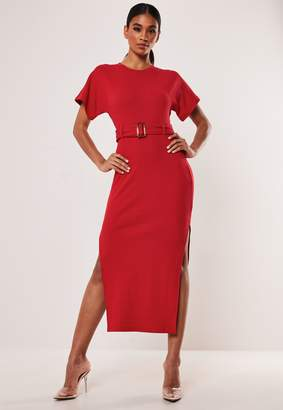 Missguided Red Rib Tortoise Shell Belted Midi Dress