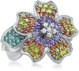 Fleur Collection: Silver Ring with Multi-Colored Sapphires and White CZ Flower by Drukker Designs