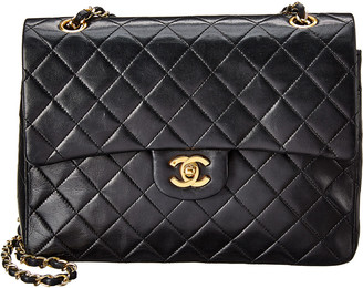Chanel Black Quilted Lambskin Leather Tall Double Flap Bag