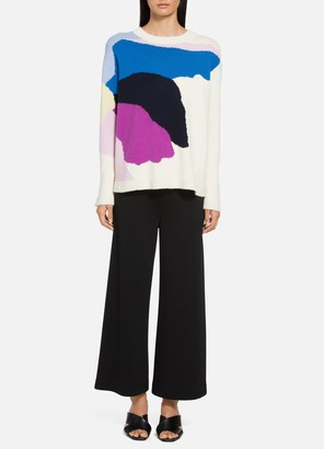 St. John Abstract Floral Intarsia Knit Sweater
