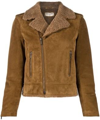 Saint Laurent Shearling-Lined Suede Jacket