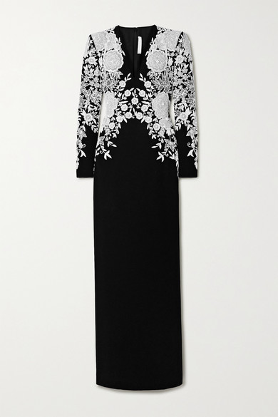 Thumbnail for your product : Naeem Khan Embroidered Embellished Silk-crepe Gown - Black