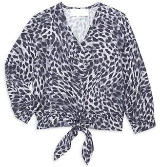 Bella Dahl Little Girl's & Girl's Leopard-Print Tie-Front Blouse