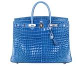 Hermes pristine (PR Mykonos Blue Porosus Crocodile 40cm Birkin Bag with Palladium Hardware
