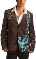 Ed Hardy Mens Skull Velvet Pinstripe Blazer Jacket