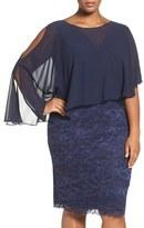 Marina Plus Size Women's Capelet Lace Sheath Dress