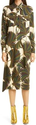Dries Van Noten Deniz Asymmetrical Drape Long Sleeve Shirtdress