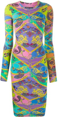 Versace Baroque-Print Fitted Dress