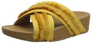 FitFlop Women's Freya LULU Slide - Fringe Canvas Open Toe Sandals,4 (37 EU)