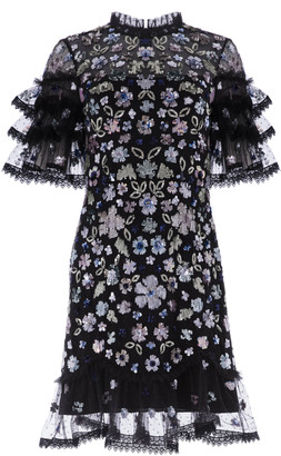 Needle & Thread Meadow Ruffled Sequin Mini Dress