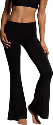 jieGorge Pants Women High Elastic Waist Bell-Bottom Long Trousers Skinny Flare Dance Pants S
