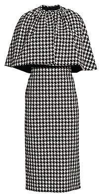 Gucci Women's Houndstooth Wool-Blend Cape Sheath Dress