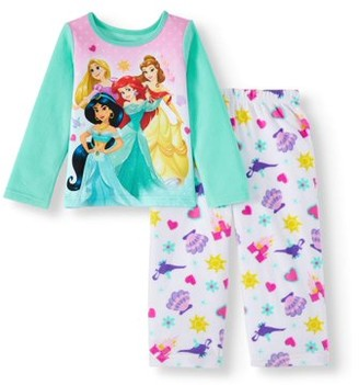 Disney Princess Baby Toddler Girl Long Sleeve Microfleece Pajamas, 2pc Set