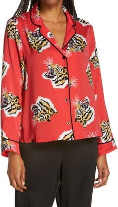 Shady Lady Print Notch Collar Pajama Top
