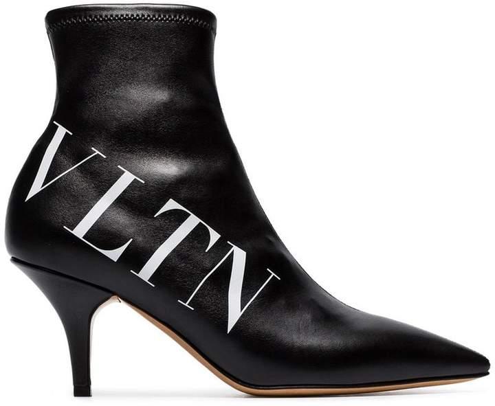 Valentino black VLTN 70 logo print leather boots