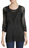 XCVI Maidenfair Mesh Embroidered Tunic, Plus Size