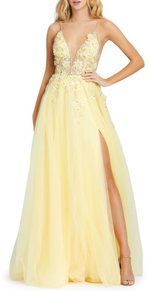Mac Duggal Plunging Floral Embroidered Tulle Ball Gown