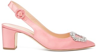 Rupert Sanderson Marina Crystal-buckle Satin Pumps - Pink