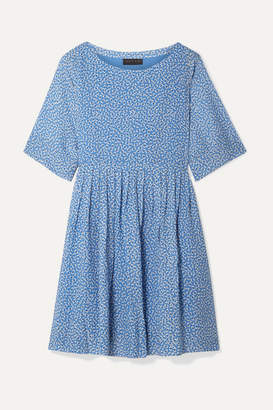 Hatch The Lucia Pleated Floral-print Chiffon Dress - Light blue
